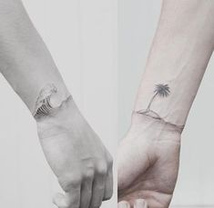 idée-tatouage-couple-original-vague-îlot-palmier
