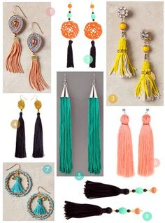 Trendy tassel earrings Let's learn how to make classy and eye-catching tassel earrings with a step-by-step guide. Diy Tassel Earrings, Tassel Earing, Tassel Jewelry, Beaded Earrings, Beaded Jewelry, Jewelery, Handmade Accessories, Handmade Jewelry, Earrings Handmade