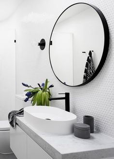 the perfect circular mirror for your bathroom. Black, contemporary and a big statement Photography Martina Gemmola / Interior design GIA Bathrooms and Kitchens Laundry In Bathroom, White Bathroom, Bathroom Faucets, Modern Bathroom, Small Bathroom, Mirror Bathroom, Bathroom Pass, Contemporary Bathroom Mirrors, Black Bathrooms