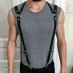 New Mens Harness PU Leather Harness Men Punk Adjustable Body Chest Half Harness Suspenders Belt Cosplay Costumes bdsm Bondage Faux Leather Belts, Leather Men, Sword Belt, Leather Suspenders, Fancy Costumes, Cosplay Costumes, Leather Accessories, Swagg, Burning Man