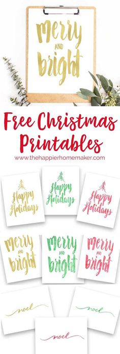 Free hand-lettered Christmas printables in a variety of watercolor colors! Holiday printables are such a great way to update your decor on a budget!