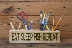 Custom Engraved Desk Caddy  Eat Sleep Fish by Timberlinewoodworks