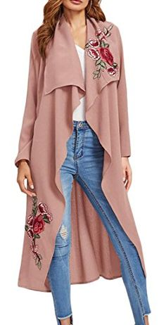 429b3f8c76 XQS Womens Floral Embroidery Front Open Lapel Long Jacket Trench Coat 1 M  Cropped Cardigan Sweater