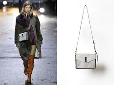 """""""Racer"""" Double Flap Crossbody in White/Black and Dark Olive @CFDA #nomination #accessories #award"""