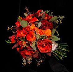 Classic Rustic Shabby Chic Burgundy Orange Bouquet Fall Wedding Flowers