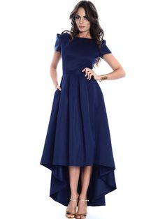Shop Midi Dresses - Navy Blue High Low Elegant Gathered Crew Neck Midi Dress online. Discover unique designers fashion at StyleWe.com.