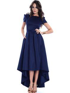 Shop Midi Dresses - Navy Blue High Low Elegant Gathered Crew Neck Midi Dress online. Discover unique designers fashion at StyleWe.com.