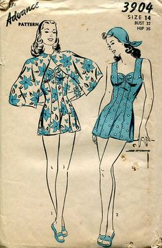 Sewing Patterns Vintage Out of Print Retro,Over 7000 ,Vogue Simplicity McCall's - Advance 3904 Retro Bathing Swim Suit Cape Cover up! Vintage Dress Patterns, Clothing Patterns, Vintage Dresses, Vintage Outfits, Vintage Bathing Suits, Vintage Swimsuits, 1940s Fashion, Vintage Fashion, Fashion Sewing