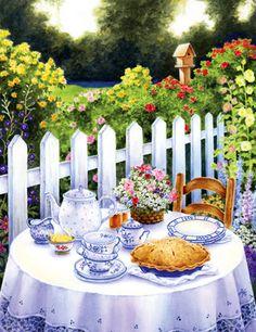 Tea Garden by Lin Howard ~ floral ~ fence