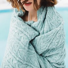 Amazing blue cable knit blanket