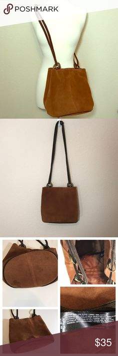 Urban Outfitters Cognac Suede Bucket Bag Beautiful authentic leather bucket bag. In great condition. Some spots on bottom which could be cleaned. Inside is in great shape. Dimensions to come! Urban Outfitters Bags Satchels