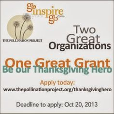 GIG is looking for a Thanksgiving Hero! The Pollination Project have stepped up and will give a $1,000 grant to our first Hero to help his or her cause. Apply today: www.thepollinationproject.org/thanksgivinghero   Deadline: October 20, 2013