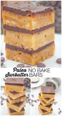 Healthy dessert recipes - Paleo No Bake SunButter Bars- These No Bake Sunbather Bars takes barely any time to whip up and are actually too! and Whip up a batch in less than 10 minutes! Paleo Dessert, Healthy Sweets, Gluten Free Desserts, Vegan Desserts, Just Desserts, Dessert Recipes, Paleo Recipes, Whole Food Recipes, Cooking Recipes