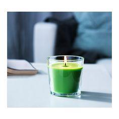 СИНЛИГ Ароматическая свеча в стакане  - IKEA. Зеленое ябло, зеленый. 49 руб.