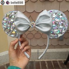 All the sparkle Thank you for sharing! I feel so honored you thought… Minnie ears Disney Diy, Diy Disney Ears, Disney Minnie Mouse Ears, Disney Crafts, Disney Ears Headband, Disney Headbands, Ear Headbands, Disneyland Ears, Disney Outfits