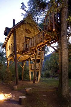 Crystal River Treehouse: A Rustic Loft Perched Above an Icy Colorado River in Carbondale, CO. Beautiful Tree Houses, Cool Tree Houses, Building A Treehouse, Rustic Loft, Tree House Designs, Tree Tops, In The Tree, Big Tree, Play Houses