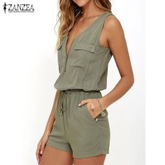 a9532736356 2018 Summer Rompers Womens Jumpsuit Sexy Sleeveless V Neck Playsuit Fashion  Zipper Slim Fitted Bodysuit Solid Overalls