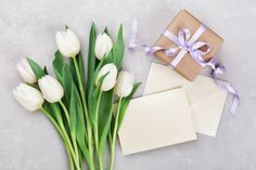 gift box with tulip flowers for womens or mothers day