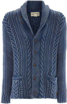 DENIM & SUPPLY RALPH LAUREN Cable Knit Shawl CARDIGAN Sweater SCOTT DISICK NEW M