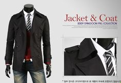 FASHION MENS CASUAL DOUBLE BREASTED TRENCH COAT