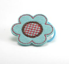 Jumbo Flower Ponytail  Aqua Red and Brown by ZandyLand on Etsy,
