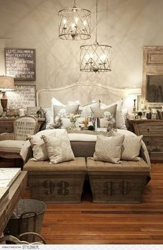 Love the Overhead lighting, but no burlap in my bedroom please.