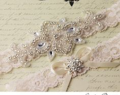 Items similar to Bridal Garter Wedding Garter Set BLUSH Stretch Lace Keepsake and Toss Garters, Rhinestone and Crystal garters on Etsy