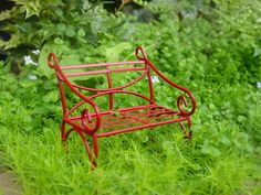 Red Fairy Garden Bench