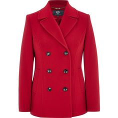 Viyella Double Breasted Pea Coat ($345) ❤ liked on Polyvore featuring outerwear, coats, clearance, red, red coat, pea jacket, double breasted coat, double breasted peacoat and long sleeve coat