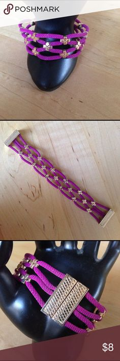 """Boysenberry Magnetic-close Bracelet This pretty wire weave bracelet has four strands attached in a weave look by gold petal pieces.  Attaches securely with a magnetic clasp. Great spring color. Never worn. 7.5"""" in length. Jewelry Bracelets"""