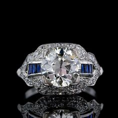 2.37 ct. Art Deco Diamond and Calibre Sapphire Engagement  Ring