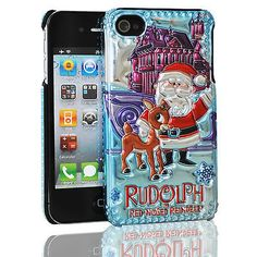 CHRISTMAS+RUDOLPH+THE+RED+NOSED+REINDEER+iPhone+4/4s+Bling+Cover+Case+(Santa)