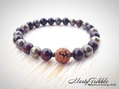 Men's / Unisex Jasper, Pyrite & Rudraksha Mala Bracelet » Protection Bracelet » Yoga Jewelry » Spiritual Quest Bracelet » Energy Bracelet by MartyTribble on Etsy