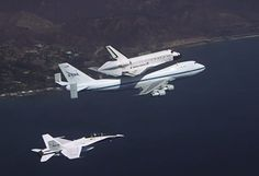 Endeavour and SCA over California from one of NASA's F/A-18 chase planes