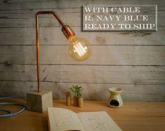 Lamp tabel industriële cement koper blauw van EunaDesigns op Etsy