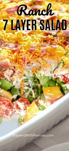 7 Layer Salad is a favore recipe with layers of lettuce, peas and bacon. The dre… 7 Layer Salad is a favore recipe with layers of lettuce, peas and bacon. The dressing is a very simple ranch dressing for a perfect meal or side! Best Salad Recipes, Healthy Recipes, Cooking Recipes, Lettuce Recipes, Simple Salad Recipes, Vegetable Salad Recipes, Side Dish For Potluck, Potluck Recipes Summer, Cold Dishes For Potluck