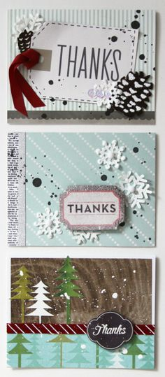 A trio of Winter Thank You cards by Renee Zwirek using the From Me to You, Front Porch, and Lakeside collections by Pebbles.