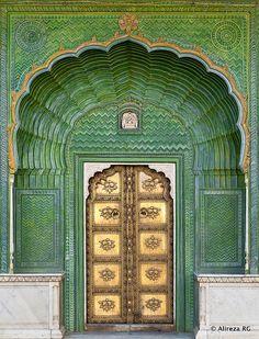 Jaipur City Palace, India by Jean Christophe Prunet Knobs And Knockers, Door Knobs, Indian Doors, Gold Door, Door Entryway, Door Gate, Doorway, Door Design, Stairways