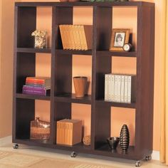 Cappuccino Cube Bookcase / Bookshelf on Wheels at www.GoWFB.ca | Free Shipping | This beautiful Cappuccino Contemporary Cube Bookcase with Casters by Coaster Company will quickly jazz up your wall in a living room, family room, or hallway.