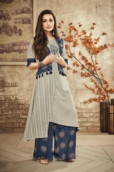 Picture of Grey and blue designer suit