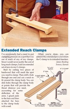 DIY Long Reach Clamp - Clamp and Clamping Tips, Jigs and Fixtures   WoodArchivist.com
