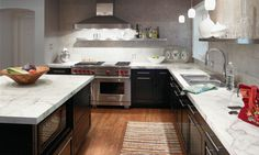 Faux Carrara Marble at Home Depot! It's Formica and only $16 per sq. ft. installed! the look I am going for!