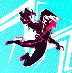 Gwenom by ribkaDory on DeviantArt Spider Gwen Venom, Spiderman Spider, Marvel Vs, Marvel Heroes, Marvel Comics, Venom Girl, Comic Movies, Spider Verse, Cartoon Drawings