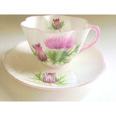 Scottish Thistle Shelley Tea Cup and Saucer, Thistle Pattern 13820,... ($102) ❤ liked on Polyvore featuring home, kitchen & dining, drinkware and bone china