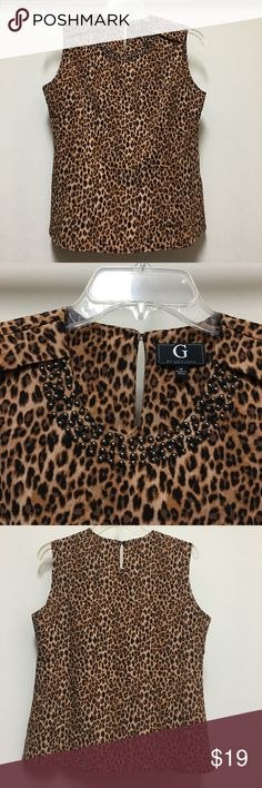 G by Giuliana, Cheetah Blouse Top This top feels like silk, but is made from an easy care poly and spandex . It has front darts ( for a nice fit and shape) and stylish shoulder accents and sewn on stud beads. You can pair this up to dress up jeans or you can dress it up with a nice pair of pants or skirt. NWOT G by Giuliana Tops Blouses
