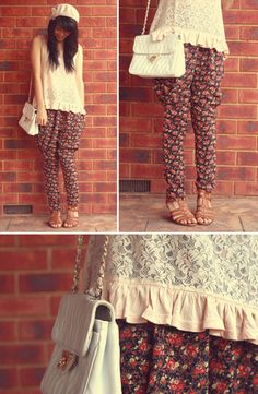DIY Floral harem pants!  (by KANI (Connie) Cao) http://lookbook.nu/look/708487-DIY-Floral-harem-pants
