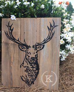 "Big Buck on reclaimed cypress $30  22x16.5"""