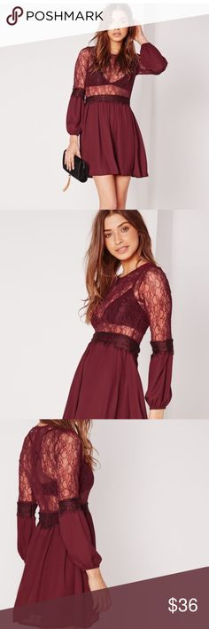 MISGUIDED SMOCK AND LACE DRESS . HOTTEST TREND WITH SWING AND LACE. WITH A LONG SLEEVE FINISHED WITH LACE ALL EYES WILL BE ON YOU. TEAM THIS BEAUT UP WITH OVER THE KNEE BOOTS AND A LEATHER JACKET. .  Not free people use name for exposure. Free People Dresses Mini