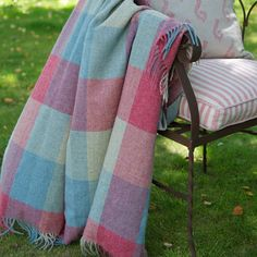 Soft warm Shetland Wool Throw in bright colours Rose Pinks and Duck-egg Blues Devon, Susie Watson, Website Design, Shetland Wool, Duck Egg Blue, Table Linens, Soft Furnishings, Decoration, Cottage Style