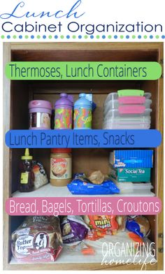 Organizing a Lunch Station ~ Organize Your Kitchen Frugally Day 5 - Organizing Homelife Household Organization, Pantry Organization, Organizing Tips, Organising, Sink Organizer, Getting Organized, Homemaking, 31 Days, Storage Containers